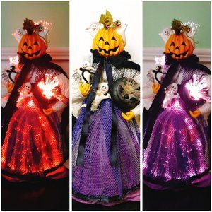 Vintage Fiber Optic Pumpkin Jack O'Lantern Witch
